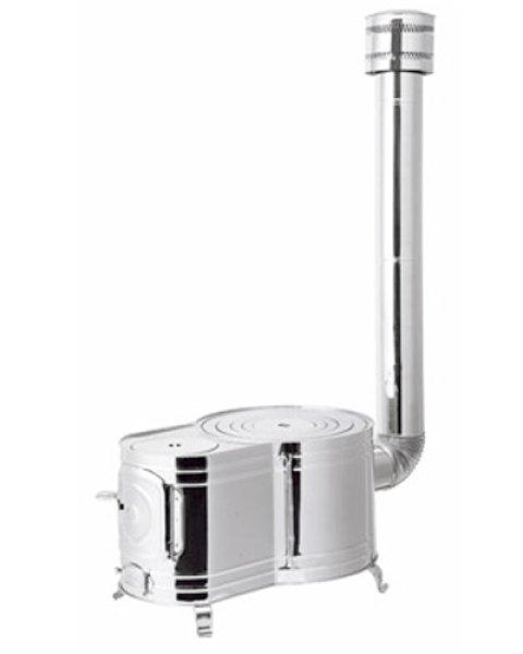 画像1: ステンレス 時計1型薪ストーブセット ASS-60 (1)